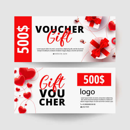 Shopping voucher gift cards template set with realistic surprise gift boxes, love shape decor and 500 dollar numbers. Discount card coupon. Happy Valentine day vector illustration 向量圖像