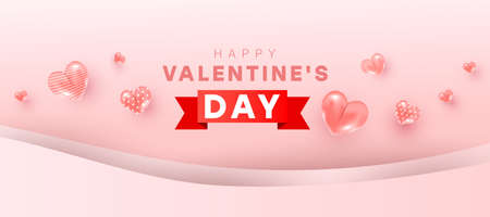 Happy valentine day background design of realistic 3d bauble love shape, red gift ribbon and text. Love is banner. Horizontal minimal poster, greeting card, header for website