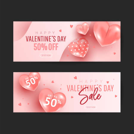 Happy Valentine's Day Romantic creative banner set with realistic 3d bauble love shape and text on pink background. Design template for advertising, web, social media, greeting card