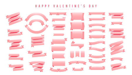 Light pink silk ribbons vector set isolated on white background. Vector Illustration