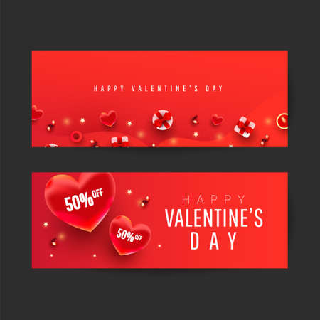 Happy Valentine's Day Romantic creative banners set with realistic 3d bauble love shape and text on red background for advertising, web, social media, greeting card 向量圖像