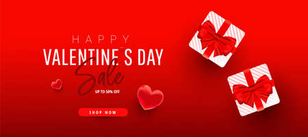 Valentine's Day sale minimal promo banner with gift boxes, love shape and sale text on red background. Flat lay, top view, copy space. Vector illustration