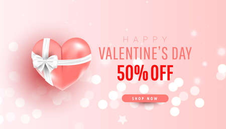 Valentine's Day sale horizontal banner. Realistic pink air balloon gift and confetti on pink background. Promotion discount banner. Vector illustration 向量圖像