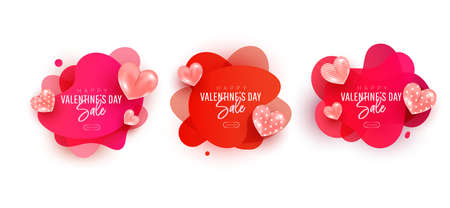 Valentines day sale collection set. Flying air heart shaped balloon elements. Design template for advertising, web, social media.