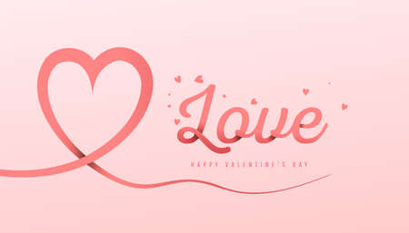 Happy Valentine day. Hand drawn valentines day love banner template with love text in paper style on a pink background. 向量圖像
