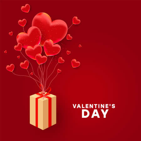 Happy valentine day background design. Red realistic 3d bauble love shape and paper surprise gift flying on a red background. Love is banner. Horizontal minimal poster, greeting card, header for website. Vector illustration 向量圖像