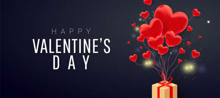 Happy valentine day background design of red realistic 3d bauble love shape, flying paper gift box and text on dark background. Love is banner. Horizontal minimal poster, greeting card, header for website