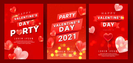 Romantic banners set with red pink air heart ballons fly in the air with party text and ribbon on red background. Design template for advertising, web, social media.