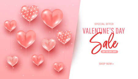 Trendy minimal pink background with realistic air heart shaped balloons flying and calligraphy text. Valentine Day sale discount promotion template banner. Poster, holiday flyer, stylish brochure, card