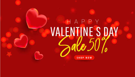 Valentines day sale design template on red background. Red banner with 3d decorative heart, glitter confetti. Promotion discount banner. Vector illustration 向量圖像