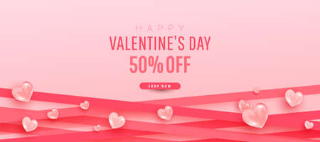 Trendy minimal pink background with realistic air heart shaped balloons flying and ribbon tapes. Valentine Day sale discount promotion template banner