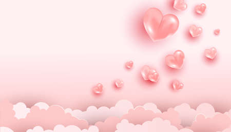 Trendy minimal pink background of realistic heart shaped balloons flying in the clouds with copy space for Valentines Day concept. Vector illustration