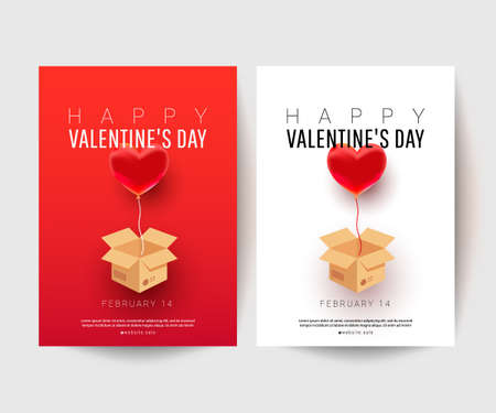 Romantic minimal greeting card with surprise gift flying box and air heart shaped balloon element. Mother's Day, Valentine's Day, Birthday. Design template for advertising, web, social media. 向量圖像