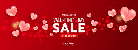 Valentine day sale template banner with air 3d balloon heart shapes on red background. Vector illustration
