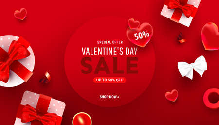 Happy valentine day stylish frame card background with sweet heart, boxes and bow decorations. Promotion sale discount banner.