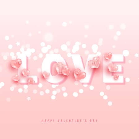 Minimal volumetric text with 3d love shapes, glitter on a pink background. Cute love banner or greeting card. Trendy shining silver candy pink hearts background