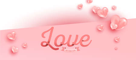 Love text in paper style with realistic air heart shaped balloons flying on pink background. Valentines vector banner design.