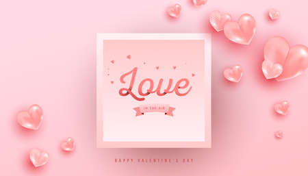 Love text in paper style with realistic air heart shaped balloons flying and gradient frame on pink background. Valentines vector banner design.