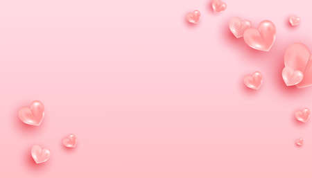 Valentine background with pink realistic heart shaped balloons flying on pink background. Horizontal poster, flyer, greeting card, header for website