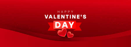 Happy Valentine day horizontal composition. Bright surprise heart decor and text on a red background. Vector shopping discount illustration