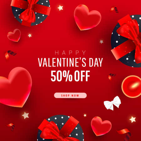 Valentines Day sale promo banner with 3d realistic flying hearts, gift boxes, bow, ribbons and text on red background