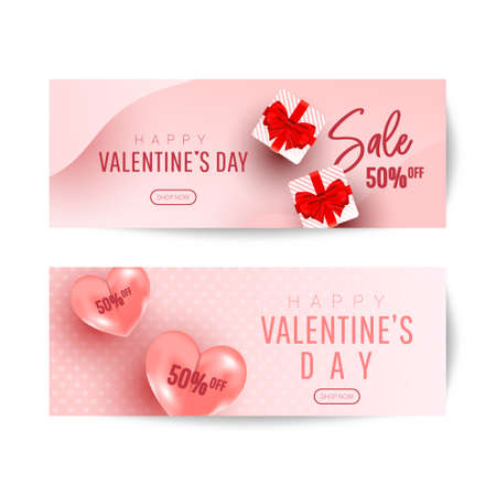Happy Valentines Day Romantic creative banners set with realistic 3d bauble love shape, gift and text on pink background. Design template for advertising, web, social media, greeting card 向量圖像