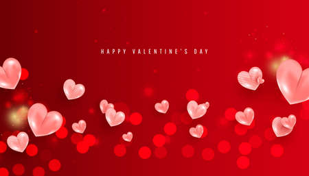 Blurred valentine day background with pink romantic heart balloons on red background. Horizontal poster, flyer, greeting card, header for website
