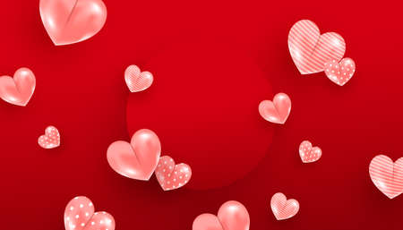 Valentine day sale background with pink hearts and red circle frame on red background. Vector illustration. Trendy minimal style