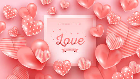 Happy Valentine day. Love text in paper style with realistic air heart shaped balloons flying and gradient frame on pink background. Design template for advertising, web, social media, greeting card