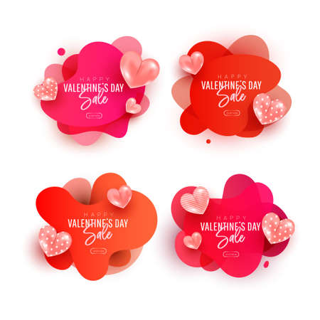 Happy Valentines day sale collection set. Flying air heart shaped balloon elements with wave sticker. Design template for advertising, web, social media.