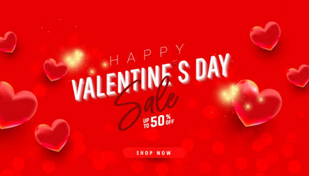 Bright realistic pink heart air balloons on red white background with discount text. Trendy horizontal banner for valentine day