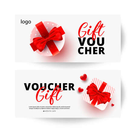 Promotion and shopping voucher cards template or background with realistic holiday box gifts. Promotion discount banner.