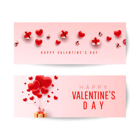 Happy Valentines Day romantic creative banners set with realistic 3d bauble love shape, red bow, gift and text on pink background. 向量圖像