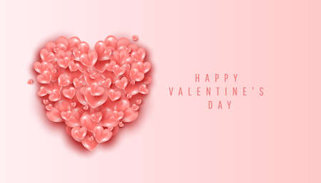 Happy Valentines Day romantic creative template banner with minimal realistic flying air heart shaped elements on pink background