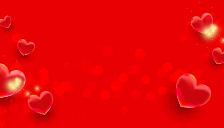 Realistic flying air heart shaped elements on red background. Mothers Day, Valentines Day, Birthday. Horizontal minimal poster, greeting card, headers for website