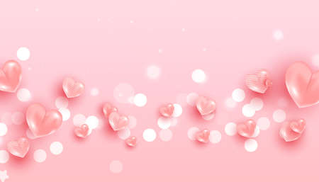 Realistic flying air heart shaped balloon elements and glitter on pink background for romantic banner design. 向量圖像