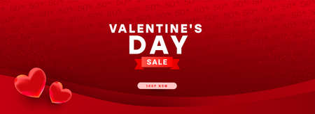 Happy valentine day background design. Red realistic 3d bauble love shape and text flying on a red background. Vector illustration