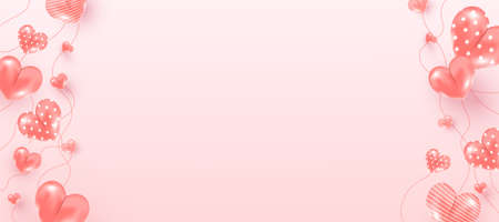 Realistic flying air heart shaped elements on pink background for romantic banner design. Mothers Day, Valentines Day, Birthday.