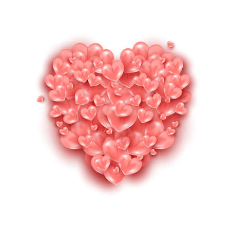 Realistic flying air heart shaped elements on pink background. Happy Valentines Day romantic creative template banner.
