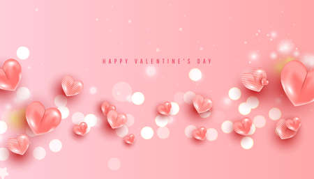 Valentines Day sale horizontal banner. Realistic love pink air balloons and confetti on pink background. Vector illustration 向量圖像