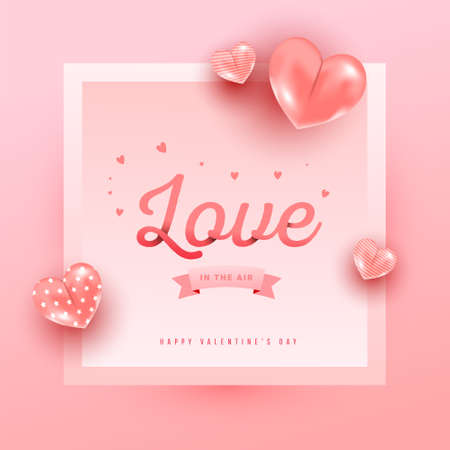 Love text in paper style with realistic air heart shaped balloons flying and gradient frame on pink background. 向量圖像