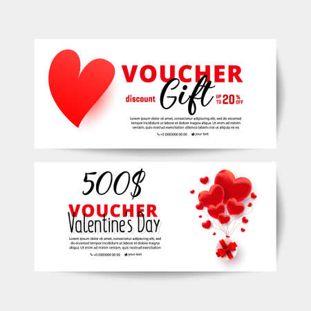 Valentine day love shopping voucher gift cards template set with realistic sweet love shape decor and 500 dollar number. Discount card coupon.