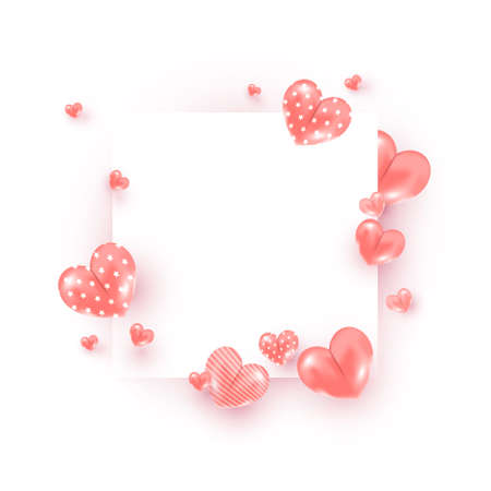 Creative minimal composition frame with many air pink sweet heart balloons decor on white background. Concept for Valentine Day.