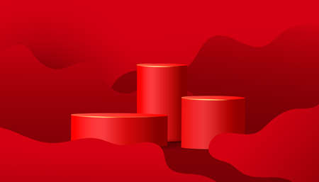 3d red podium vector background with wave shapes. Minimal scene.
