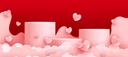 Realistic 3d minimal scene with geometric forms for advertising brand products. Valentines Day greeting card. Minimal scene.