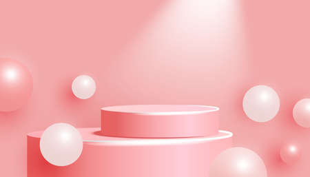 3D pink podium with steps and volumetric balls on a pink background. Vector background with spotlight from above. Minimal scene.