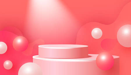 Mockup banner for product presentation. 3D pink podium with steps and volumetric bubble in the air on pink background.
