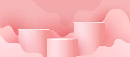Cylinder podium with paper cut wave and shadow on pink background. Minimal scene with geometrical forms for product presentation