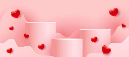 Empty podiums, pedestals or platforms with paper cut wavy shapes and red love balloons on a pink background. Minimal scene with geometrical forms for product presentation. 向量圖像