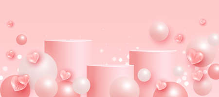 Trendy mock up scene with podium or platform, flying ball geometric shapes and love elements on pink background. Minimal scene with geometrical forms for product presentation. Vector illustration 向量圖像